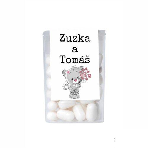 Dražé cukríky pre potešenie svadobných hostí - mačička s kvietkami